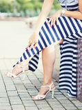Legs of woman with high heels Royalty Free Stock Image