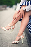 Legs of woman with high heels outdoor Royalty Free Stock Images
