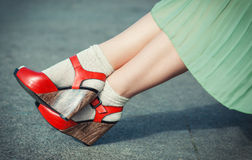 Legs of woman with high heels vintage style Royalty Free Stock Image