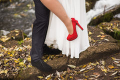 Legs of a woman and man Stock Photo