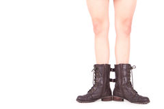 Legs From A woman With Open Feet. Legs from a woman without his pants. White background Stock Photos