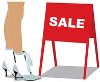 Legs of woman and sale. Pretty legs of woman in shoes and sale. Vector illustration vector illustration