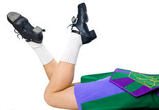 Legs of woman in shoes for irish dancing Royalty Free Stock Photography