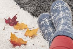 Legs of woman in warm knitted socks with snowflakes and colorful autumn leaves Royalty Free Stock Photos