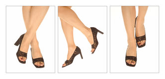 Legs of women in high heels Stock Images