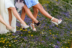 Legs of women line dancing Stock Photos