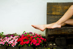 The legs of a young woman relaxing Royalty Free Stock Photography