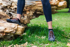 Legs of young woman sitting on tree trunk Royalty Free Stock Photos