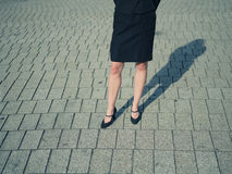 Legs of young woman in the street Royalty Free Stock Photo