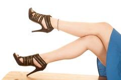 Legs zipper heels lay crossed Royalty Free Stock Image