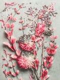Legt de de zomer die bloemenvlakte samenstelling met de kleurrijke bloemen, de bloemblaadjes en de bladeren van de pastelkleurtui royalty-vrije stock foto