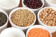 Legume. Bowls with different kinds of lentil, beans and chickpea royalty free stock photography