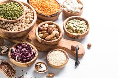 legumes семена и гайки на белизне Стоковое Фото