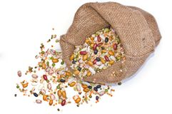 Legumes and cereales in bag isolated Stock Photos