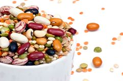 Legumes and cereales close up isolated Royalty Free Stock Photography