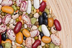 Legumes and cereales close up in plate Stock Photo