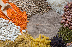 The Legumes. Dried Food; Mixed Legumes in the kitchen Stock Photo