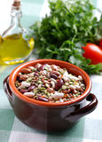 Legumes in earthenware bowl Royalty Free Stock Photos
