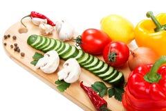 Legumes frescos ajustados no fundo branco Fotos de Stock