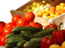 Legumes frescos e frutas no mercado Imagem de Stock
