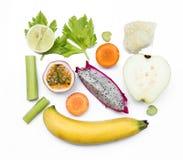Legumes frescos e isolado do fruto no fundo branco Fotos de Stock