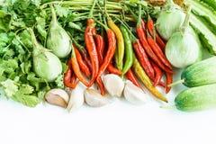 Legumes frescos em um fundo branco Fotografia de Stock