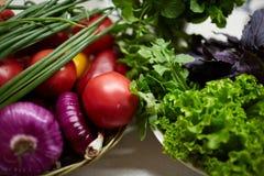 Legumes frescos em uma tabela branca Bio alimento, ervas e especiarias saudáveis Vegetais orgânicos na placa Conceito do alimento Imagem de Stock Royalty Free