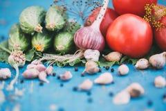 Legumes frescos no fundo azul de madeira natural Fotos de Stock