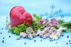 Legumes frescos no fundo azul de madeira natural Vegetais tradicionais do russo Fotos de Stock Royalty Free