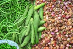 Legumes frescos no mercado da manhã, Myanmar Burma fotografia de stock