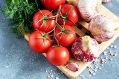 Legumes frescos para a opinião superior da salsa do aneto do alho dos tomates da salada Imagens de Stock