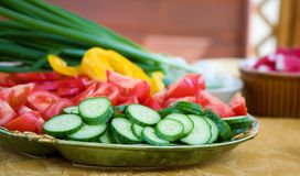 Legumes frescos preparados para a salada Imagens de Stock