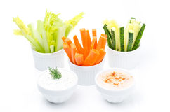 Legumes frescos sortidos (aipo, pepino, cenoura) e sauses Fotos de Stock Royalty Free