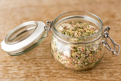 Legumes in glass jar Royalty Free Stock Images