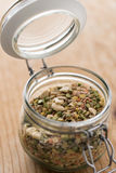 Legumes in glass jar Stock Image