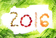 Legumes and grains on a lettuce border Royalty Free Stock Images