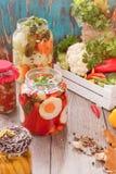 Legumes misturados sortidos em preservar frascos Imagem de Stock