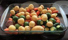 Legumes misturados temperados no prato do cozimento Imagem de Stock
