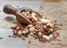 Legumes mix in the wood spoon Stock Image