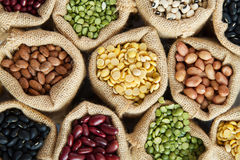 Legumes seed. Different grins, legumes seed in sack top view Stock Photography