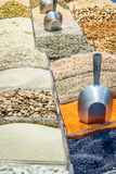 Legumes, seeds and nuts market. Legumes, seeds and nuts in the market Royalty Free Stock Photos