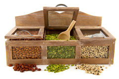 Legumes in shop shelf Stock Image