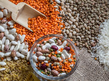 Legumes. Various legumes in a circle on background Royalty Free Stock Images