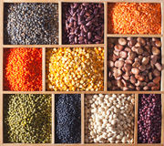 Legumes in a wooden box Royalty Free Stock Image