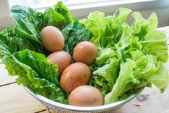 Legumi verdi con le uova immagine stock