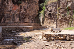 Legvtakhevi (Figs) canyon with waterfall is in the center of old Tbilisi near the sulfur baths. Royalty Free Stock Photography