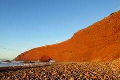Legzira海滩石头曲拱 库存图片