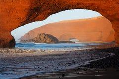 Legzira stone arch,  Atlantic Ocean, Morocco, Africa Stock Images