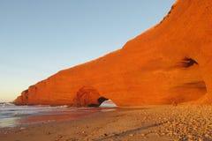 Legzira stone arch on beach in Morocco Stock Photography