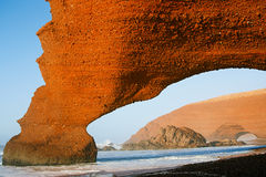 Legzira stone arches, Atlantic Ocean, Morocco Stock Photo
